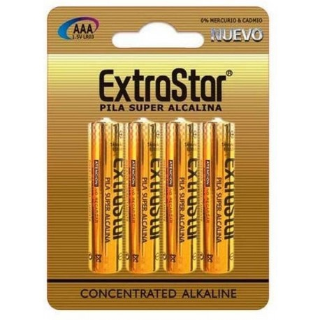 Blister 4 pilas alcalinas AAA extrastar