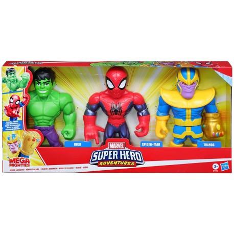 Mega Mighties Heroes Pack 3 figuras hasbro (E77725L0)