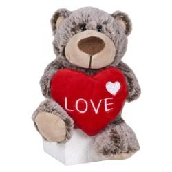 Oso San Valentín 22 cm - Marrón