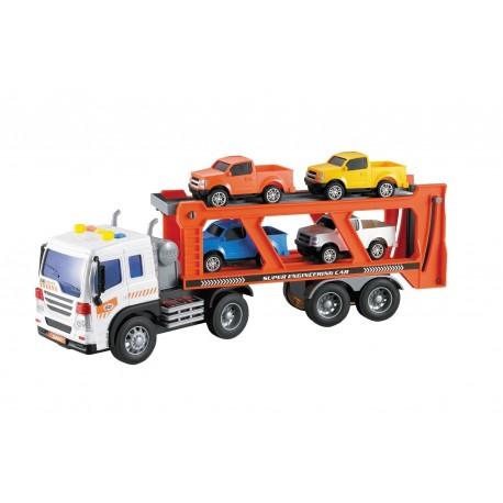 Camión portacoches 1:16 + 4 vehículos