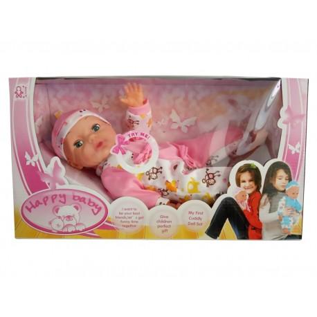 Muñeco llorón acostado - rosa