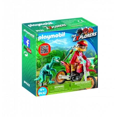 Playmobil Moto con Velociraptor