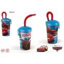 Cars vaso plastico 450 ml pajita