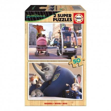 Puzzle madera Zootrópolis - 2x50 educa (16804)