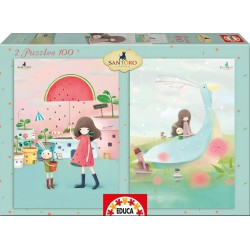 Puzzle Melon Shower + House Boats Kori Kumi - 2x100 educa (16725