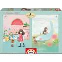 Puzzle Melon Shower + House Boats Kori Kumi - 2x100 educa (16725
