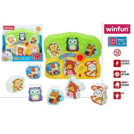puzzle animales luz y sonido winfun (44524)