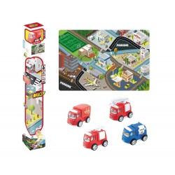 Tapiz ciudad 150x100cm con vehículo - rojo josbertoys (630)