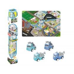 Tapiz ciudad 150x100cm con vehículo - azul josbertoys (630)